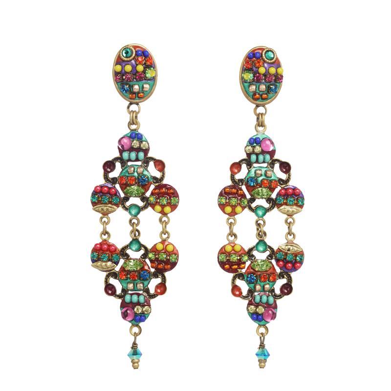 Multi Bright Chandelier Earrings Womeding Israeli Jewelry